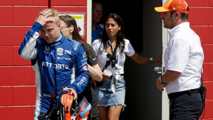 Felix Rosenqvist (10) of Chip Ganassi Racing walks out of the emergency medical tent after a crash in lap 180 during the 103rd running of the Indianapolis 500, Sunday, May 26, 2019, at Indianapolis Motor Speedway.
