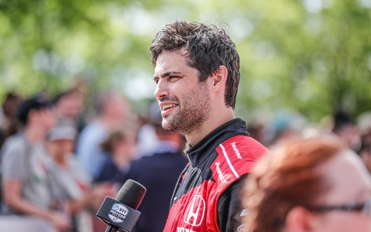 Actor Matthew Daddario is interviewed on the red carpet during the 103rd Indianapolis 500, Sunday, May 26, 2019.
