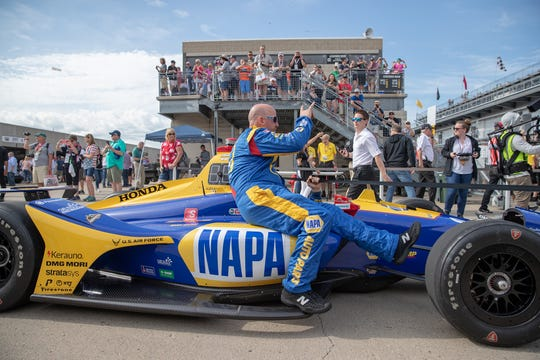 The car of Alexander Rossi (27), of Andretti Autosport, is towed onto the track prior to the 103rd running of the Indianapolis 500 at Indianapolis Motor Speedway on Sunday, May 26, 2019.
