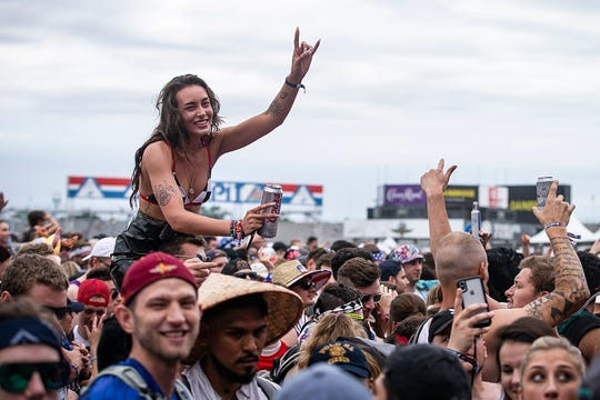 Starting at 7 a.m. people gather at Snake Pit and dance to performers Ricky Retro, Chris Lake, Illienium, Alesso, and Skrilliex, Sunday, May 26, 2019, at Indianapolis Motor Speedway for the Indianapolis 500.
