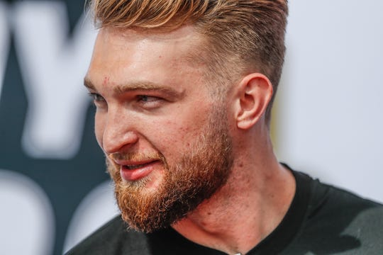 Indiana Pacers player Domantas Sabonis walks the red carpet during the 103rd Indianapolis 500, Sunday, May 26, 2019.