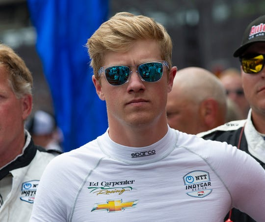 Spencer Pigot (21) of Ed Carpenter Racing before the start of the Indianapolis 500 at Indianapolis Motor Speedway on Sunday, May 26, 2019.