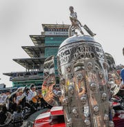 The Borg-Warner Trophy made its way to the yard of brick before the start of the Indianapolis 500 at Indianapolis Motor Speedway on Sunday, May 26, 2019.