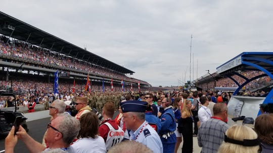 The view from pit road at Indianapolis Motor Speedway looking toward Turn 4 on Sunday, May 26, 2019.