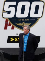 IMS Chairman of the Board Tony George tells the drivers to start their engines at the start of the Indianapolis 500 at Indianapolis Motor Speedway on Sunday, May 26, 2019.