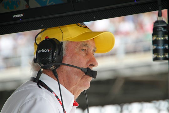 Roger Penske watches from the pits during the 103rd running of the Indianapolis 500, Sunday, May 26, 2019.