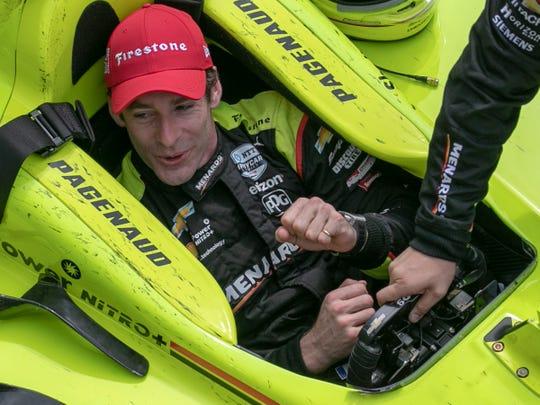 Simon Pagenaud celebrates winning the 103rd Indianapolis 500, Sunday, May 26, 2019.