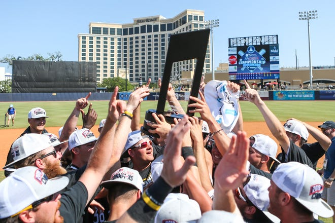 The Southern Mississippi baseball team celebrates at MGM Park in Biloxi after defeating Florida Atlantic on Sunday, May 26, 2019, to win the Conference USA championship.