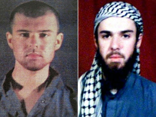 "Pictures created on April 17, 2019 shows at left a police file photo made available February 6, 2002 of the ""American Taliban"" John Walker Lindh and at right a February 11, 2002 photograph of him as seen from the records of the Arabia Hassani Kalan Surani Bannu madrassa (religious school) in Pakistan's northwestern city of Bannu."