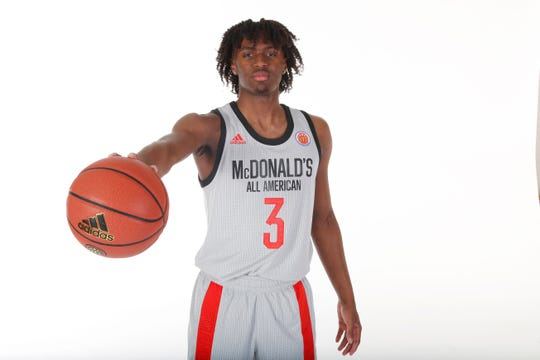 Mar 23, 2019; Atlanta, GA, USA; McDonalds High School All American guard Tyrese Maxey (3) poses for a photo on portrait day at the Hilton Hotel Crystal Ball Room before the 2019 McDonalds All American Game.