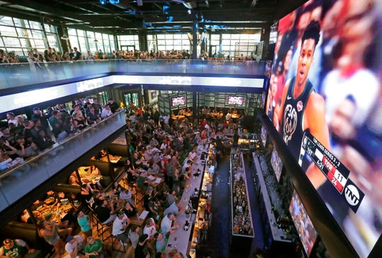 Mecca Sports Bar and Grill was crowded as were most bars as thousands of fans descended on Fiserv Forum in Milwaukee to watch Game 6 of the NBA Eastern Conference finals between the Milwaukee Bucks and Toronto Raptors.