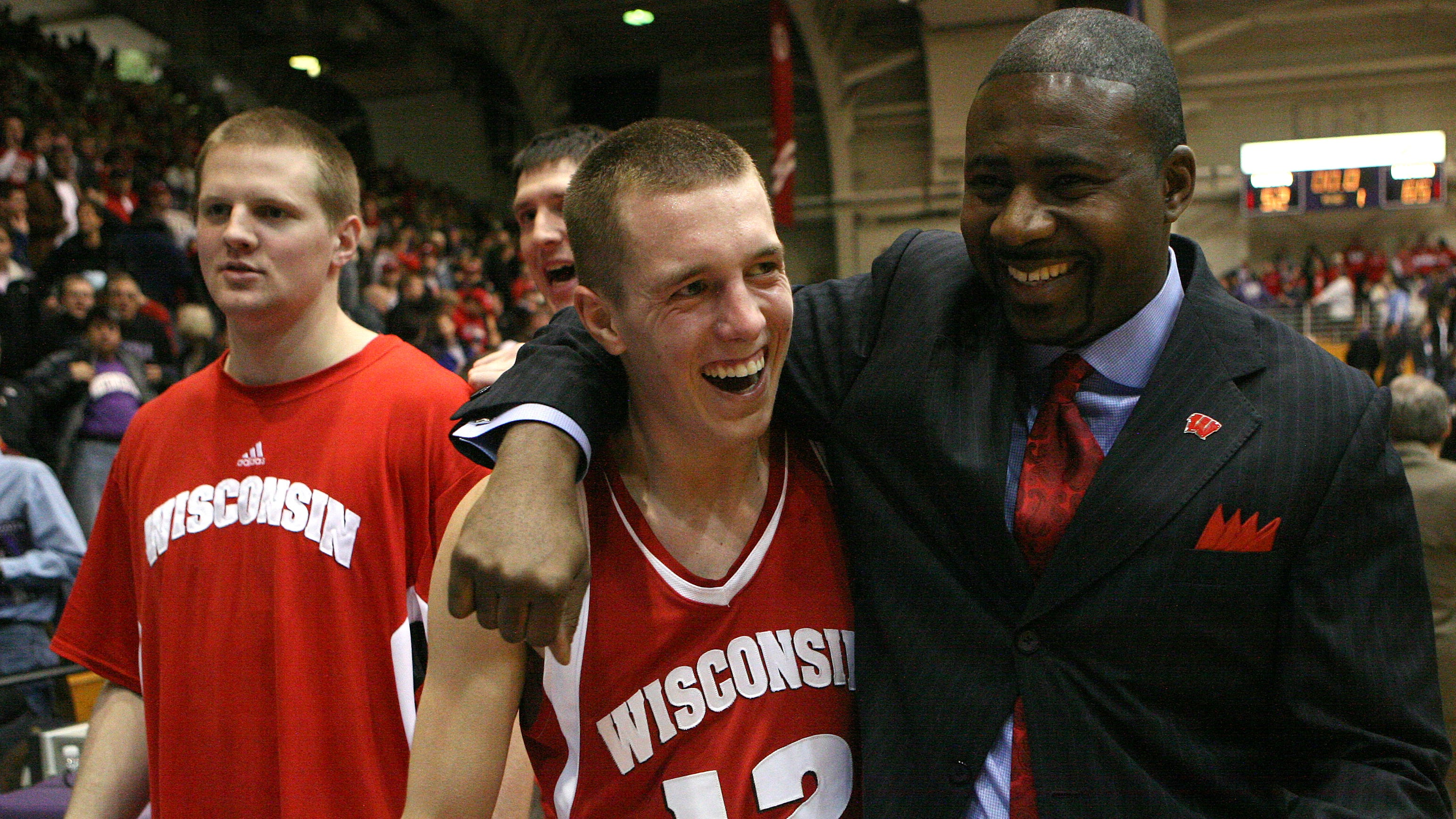 Howard Moore celebrates a victory in 2008 with Jason Bohannon.