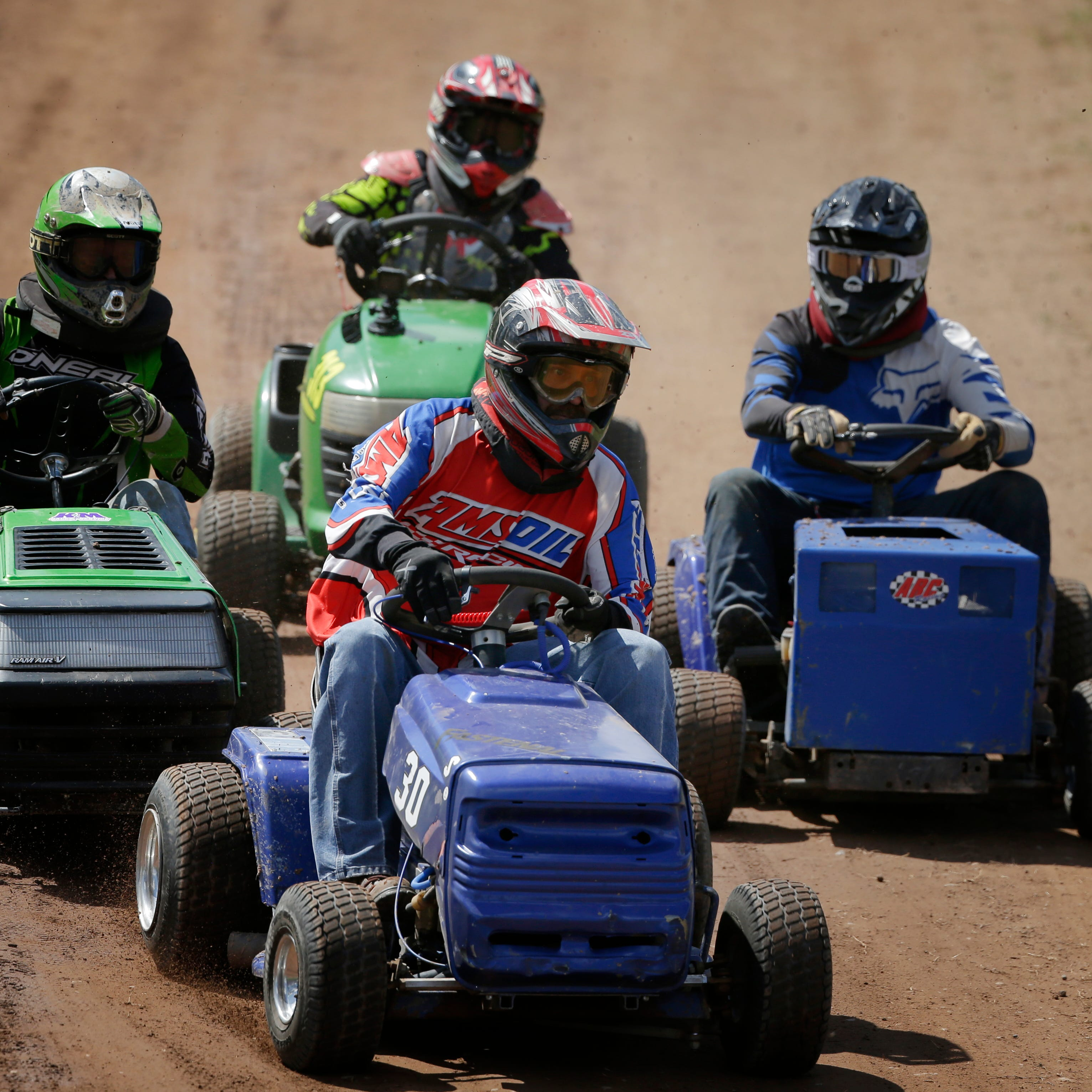 Built for speed (and cutting grass), lawn mower racers compete on dirt tracks for trophies, bragging rights