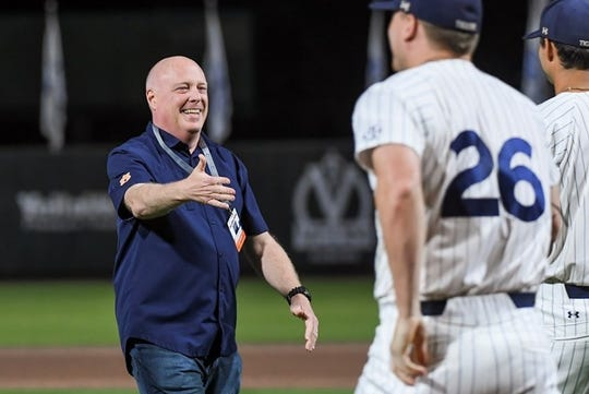 Longtime Auburn play-by-play announcer Rod Bramblett after throwing the ceremonial first pitch before a baseball game against Alabama on May 4, 2019.
