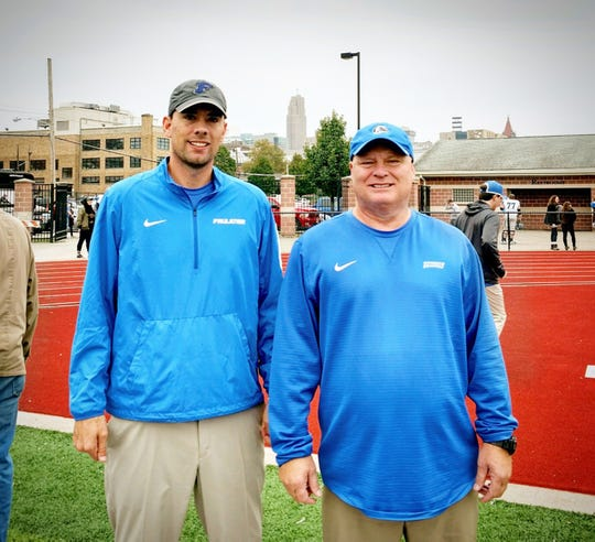 New Pike Road Patriots offensive coordinator Blake Boren, left,  said the team will field an up-tempo offense in the fall. New Pike Road Schools Athletic Director Charlie Boren, right, will coach the offensive line for the Patriots.