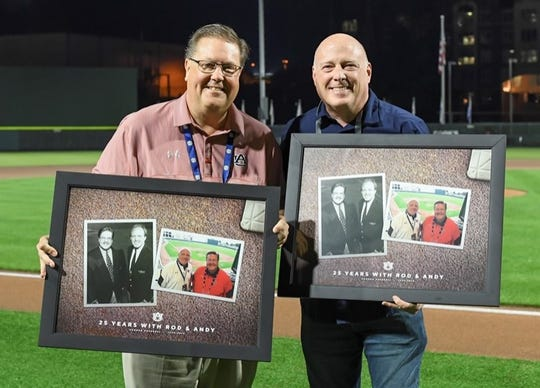 Andy Burcham, left, and Rod Bramblett, right, are honored for 25 seasons calling Auburn baseball games on May 4, 2019.