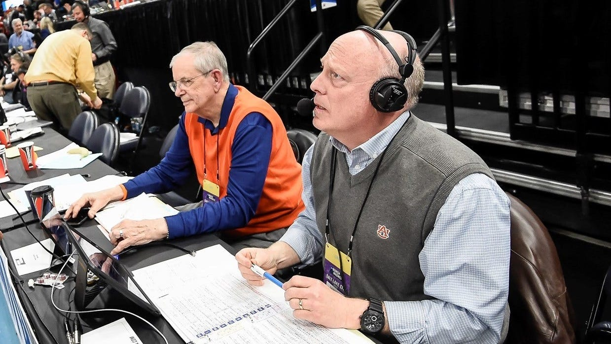 Rod Bramblett, right, and Sonny Smith, left, call an Auburn men's basketball game during the NCAA Tournament on April 23, 2019, in Salt Lake City, Utah.