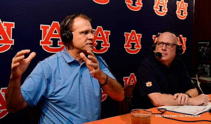 Auburn football coach Gus Malzahn, left, and radio broadcaster Rod Bramblett, right, at Tiger Talk.