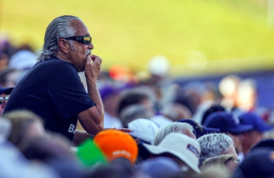Jeff Pack, the Vandy Whistler of Nashville, continues to whistle after stirring up some LSU fans during the third inning of an NCAA college baseball game at the Southeastern Conference tournament, Saturday, May 25, 2019, in Hoover, Ala.
