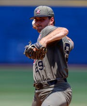 Vanderbilt pitcher Patrick Raby throws during the first inning of the SEC Baseball Tournament championship game between Vanderbilt and Mississippi on Sunday, May 26, 2019, in Hoover, Ala.