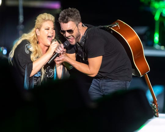 Eric Church performs with Joanna Cotten at Nissan Stadium Saturday, May 25, 2019.