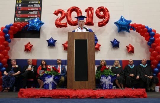 Lakewood High School Salutatorian Grant Davis delivers his speech during the Lakewood High School graduation ceremony in Hebron, Ohio on Sunday, May 26, 2019. 
