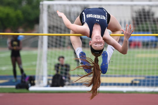 Jenna Rogers, of Rutherford, in the high jump.