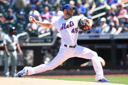 New York Mets starting pitcher Zack Wheeler Zack Wheeler goes 7.1 innings, striking out eight while allowing three runs against the Detroit Tigers at Citi Field on Sunday, May 26, 2019.