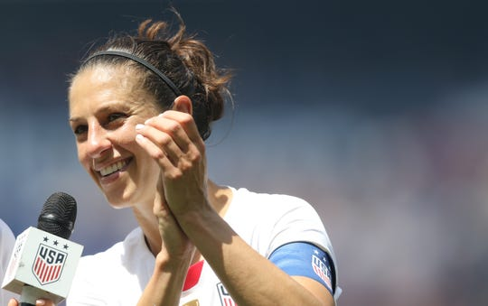 Carli Lloyd, of the U.S. is shown in Harrison, Sunday, May 26, 2019.