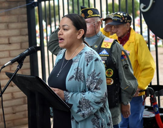Naomi Vega sang the national anthem during a Memorial Day weekend ceremony Sunday, May 26, 2019, at St. Joseph's Cemetery.