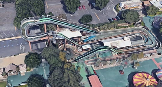 The water flume ride at Castle Park in Riverside, pictured via Google maps, is the site of several injured riders on Saturday, May 25, 2019.
