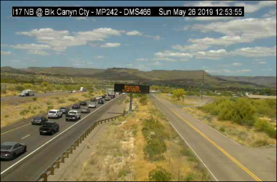 A brush fire caused delays for northbound traffic on Interstate 17 on May 26, 2019.