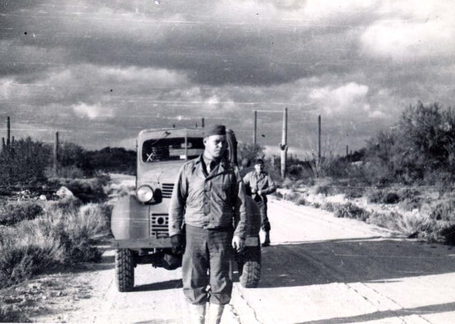 Guards search the desert after 25 German prisoners escaped from Camp Papago Park.