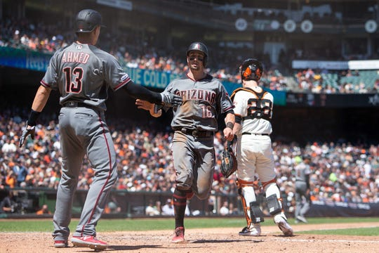 May 25, 2019: Arizona Diamondbacks center fielder Tim Locastro (16) scores a run during the fifth inning against the San Francisco Giants at Oracle Park.