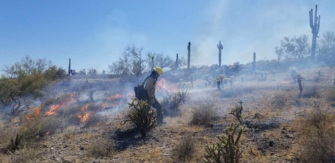 """This image, posted via Twitter May 25, 2019, by @BLMAZFire was accompanied by this message: """"#HotSpringsFire Firefighters are making good progress on containment."""""""