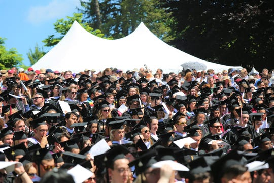Nearly 630 students graduated from Vassar College on May 26, 2019. Students are seen sitting and listening to a speech from their class president.