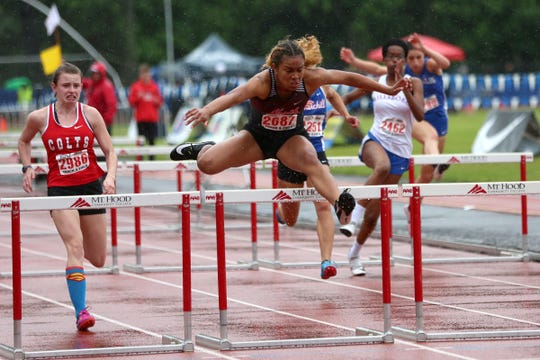 North Salem's Maliyah Thompson finishes first in the 5A girls 100 meter hurdles at the 2019 OSAA Track and Field State Championships in Gresham on May 25, 2019.