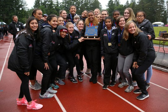 North Salem girls place first in 5A at the 2019 OSAA Track and Field State Championships in Gresham on May 25, 2019. The school had not one a state championship since 1997.