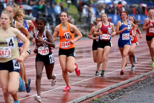 Silverton's Jori Paradis (12) runs in the Girls 1500 meter run at the 2019 OSAA Track and Field State Championships in Gresham on May 25, 2019.