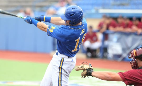 Angelo State's Josh Elvir rips a two-run home run in the Rams' 9-8 win against Colorado Mesa in Game 2 of the South Central Super Regionals at Foster Field at 1st Community Credit Union Stadium.