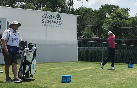 Shreveport's David Toms (right) tees off on No. 16 at Colonial on Sunday as longtime caddie Scott Gneiser looks on. Toms returned to the PGA Tour for the first time in more than two years and now he wants more.