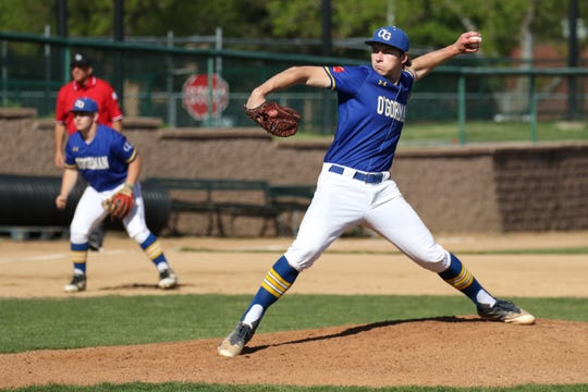O'Gorman starting pitcher Mason Crow delivers a pitch during Saturday's championship game against Mitchell in Sioux Falls.