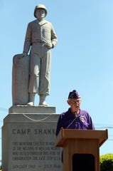 Howard Golden, commander of the Military Order of the Purple Heart, speaks at the annual Memorial Day ceremony at the Walkway of Heroes on Independence Avenue in Tappan May 26, 2019.