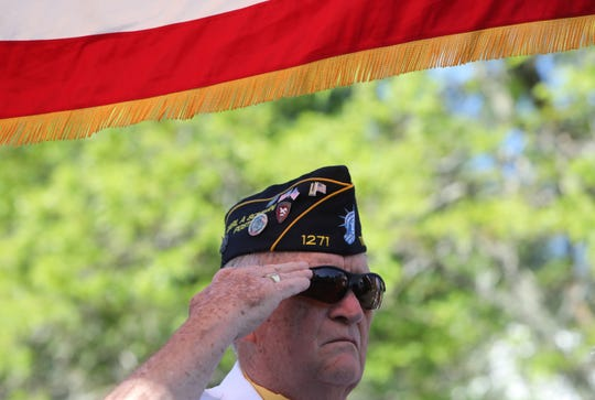 Bruce Leonard, a member of the Carl A. Schelin Post 1271 of Tappan, salutes during the annual Memorial Day ceremony at the Walkway of Heroes on Independence Avenue in Tappan May 26, 2019.