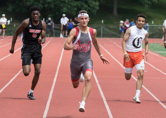 Sheridan's Jacob Rhodes races to a first-place finish in the 200 meters during the Division II regional track meet held last Saturday at Muskingum University in New Concord. Rhodes hopes to challenge for a state title.