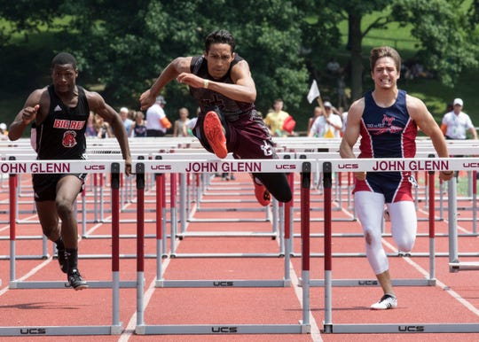 John Glenn's Joseph Clifford took first place in the 110-meter hurdles with a time of 14.53 at the 2019 Division II region seven track meet on May 25, 2019, in New Concord, Ohio.