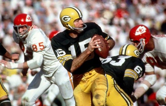 Green Bay Packers quarterback Bart Starr in action during Super Bowl I at the Los Angeles Coliseum against the Kansas City Chiefs on Jan 15, 1987. Starr, the Green Bay Packers quarterback and catalyst of Vince Lombardi's powerhouse teams of the 1960s, has died. He was 85. The Packers announced Sunday, May 26, 2019, that Starr had died, citing his family. He had been in failing health since suffering a serious stroke in 2014.