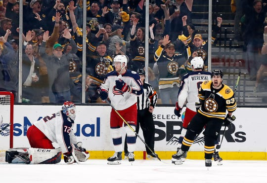 Bruins left wing Brad Marchand celebrates after scoring against the Blue Jackets in the second-round series.