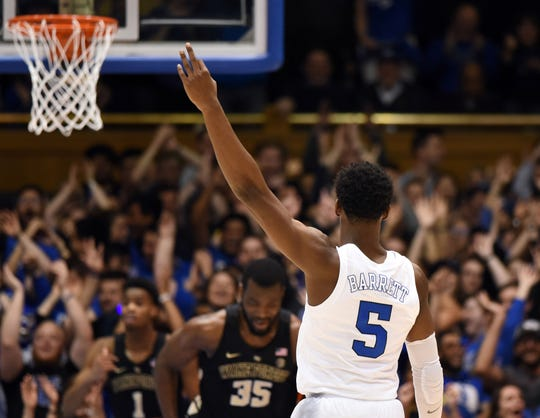 Mar 5, 2019; Durham, NC, USA; Duke Blue Devils forward R.J. Barrett (5) reacts during the first half against the Wake Forest Demon Deacons at Cameron Indoor Stadium. Mandatory Credit: Rob Kinnan-USA TODAY Sports
