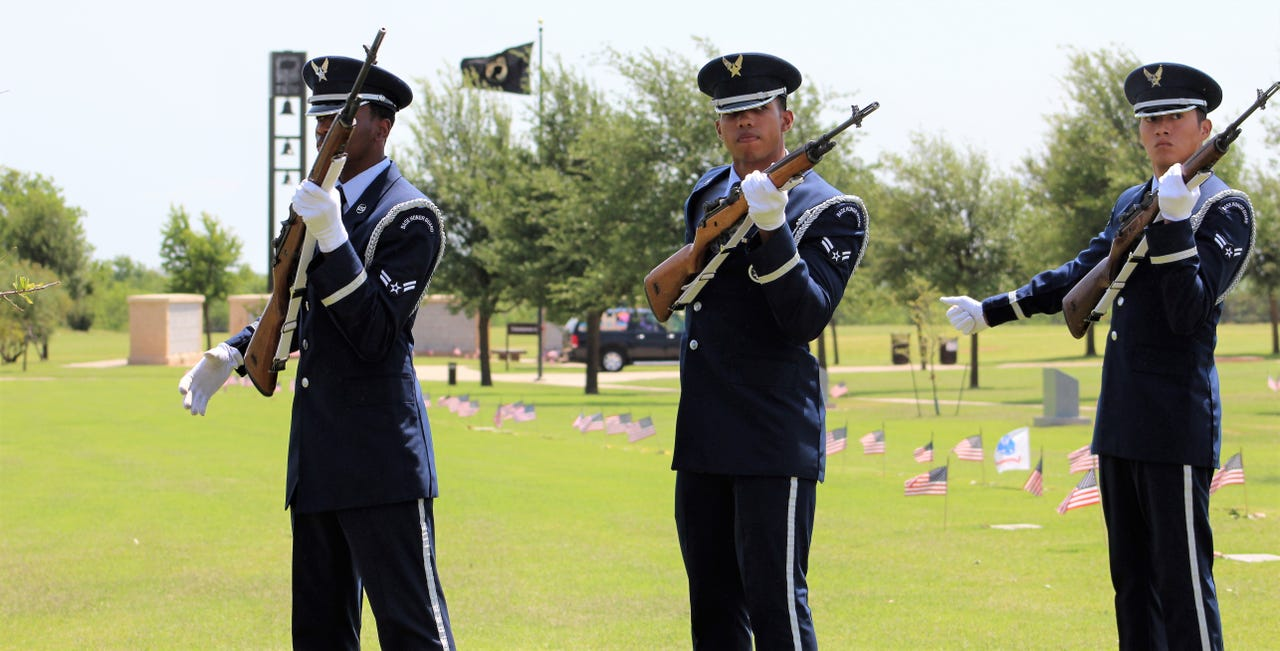 A gun salute came at the conclusion of Monday's Memorial Day ceremony at Texas State Veterans Cemetery at Abilene. May 27, 2019